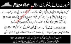 pizza hut islamabad required staff pizza hut jobs in islamabad