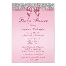 baby shower invitations for silver gems bow diamonds pink baby shower invitation