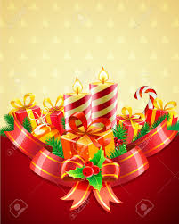 vector illustration of cool christmas candles and gift boxes