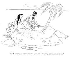 a guy a palm tree and a desert island the cartoon genre that