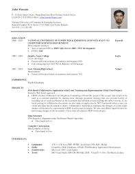 resume for internship sles sle resume for computer science fresh graduate internship