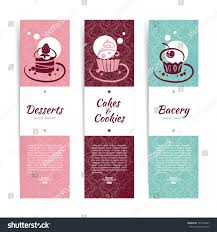 set vintage bakery banners cupcakes menu stock vector 137740007