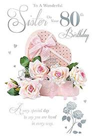 to a wonderful sister on your 80th birthday roses design happy