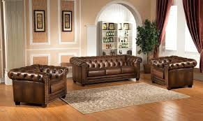 Genuine Leather Living Room Sets Chesterfield Living Room Hickory Chesterfield Genuine Leather 3