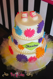 baby shower cake 3 tier pink purple blue green flower punch outs