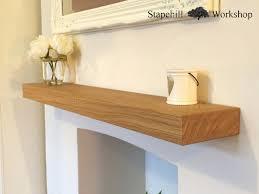 solid oak floating mantle shelf fireplace mantel shelves thickness various lengths light natural oil stapehill work