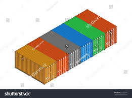 colorful metal freight shipping containers row stock illustration