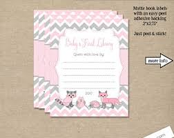 pink baby shower book stickers bookplates build a