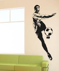 sports wall stickers sports decals for walls stickerbrand vinyl wall decal sticker soccer player kick 5076