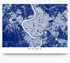 Rome Italy Map Rome Print Rome Map Art Rome Italy Blueprint City Map