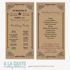 wedding ceremony cards wedding ceremony cards wedding program kraft style rustic
