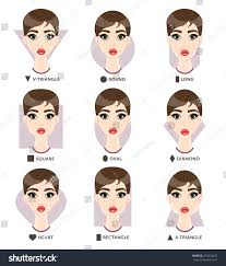 triangle and rectangular face hairstyle female set different womans face shapes nine stock illustration 474529843