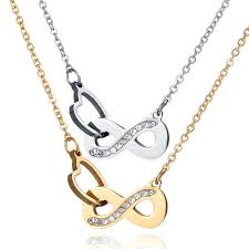 heart gold pendant necklace images Never fade infinity symbol heart gold steel rose gold pendant necklace JPG