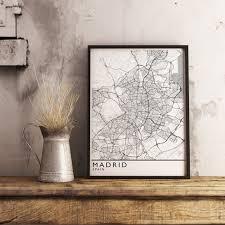 Madrid Map Madrid Map Print Minimalism Style U2013 Mappedmoments
