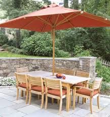 Patio Dining Set With Umbrella Teak Garden Umbrella Rectangular Ext Table Stacking Dining Chair