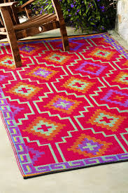 Outdoor Kilim Rug by Fab Habitat Indoor Outdoor Patio Rug Mat Lhasa Orange Purple
