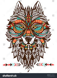 Wolf Indian Tattoos - ethnic totem wolf indian wolf stock vector 321109775