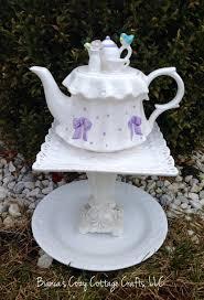 Ceramic Garden Art Teapot Whimsy Birdbath Birdfeeder Garden Totem Garden Decor
