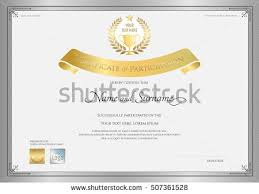 certificate participation template silver border golden stock