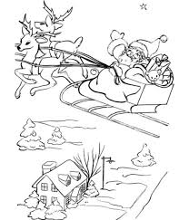 santa and his sleigh free coloring pages for christmas christmas