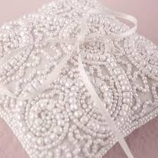 wedding ring pillow white beaded miniature wedding ring pillow sweet heart details