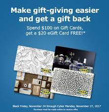 free e gift cards spend 100 in ikea gift cards get free 20 egift card hip2save