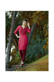 pink simple with simple work kurti which gives you a sober look