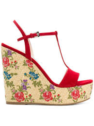 lyst prada floral woven wedge sandals in red