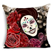 flower sugar skull pillow cover skull company