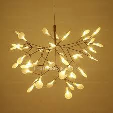 Led Chandelier Modern Glowworm Shaped 45 Pcs Leaf Led Light Chandelier 27 5 Inch