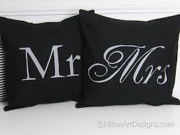 mr and mrs pillow mr and mrs pillow covers black and grey