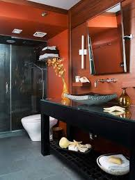 masculine bathroom color ideas with walk in shower and vessel sink