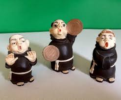 vintage 3 ceramic monks priest figurines home decor collectible