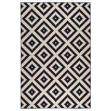 lappljung ruta rug low pile white black 200x300 cm ikea