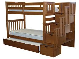 bedz king stairway tall twin over twin bunk bed with trundle