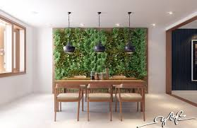 mezzanine living room with vertical garden vines design indoor