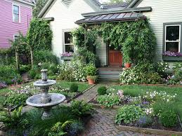 country cottage garden house planted with various kind of cottage