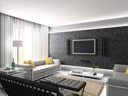 black wall decorations in modern living room with white floor lamp