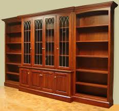 Cherry Wood Bookcase With Doors Furniture Brown Varnished Cherry Wood Large Bookshelves With