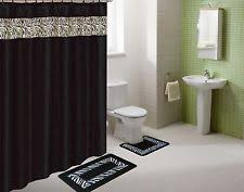 Bath Sets With Shower Curtains Black Bathroom Set Ebay