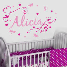 girl s swirly personalised name wall stickers decals nursery wall magenta and pink girl s swirly personalised name above a girl s