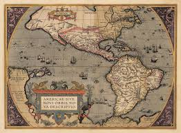 Map Of Western Hemisphere 1595 South America By Linschoten The Vintage Map Shop Inc