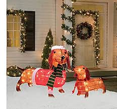 Outdoor Christmas Decorations Meijer by Amazon Com Light Up Holiday Dachshund Family 2 Piece Set 17
