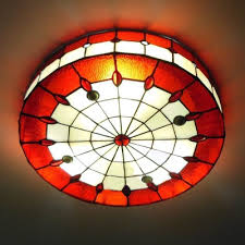 Stained Glass Ceiling Light Stained Glass 16 Inch Flush Mount Ceiling Light In