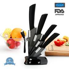 clytius ceramic kitchen knife set with stand black blade clytius