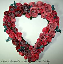 busy with the cricky valentine heart shaped wreath of rose