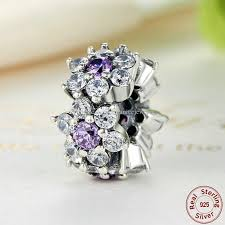 pandora style silver charm bracelet images Forget me not flower spacers in sterling silver with purple jpg