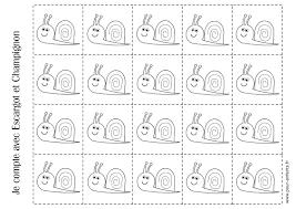 imprimer fiche pour compter maternelle escargots coloriage