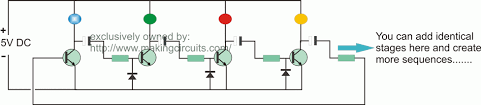 multistage light sequencer circuit for lighting decoration