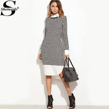 houndstooth dress sheinside houndstooth contrast curved hem combo dress knee